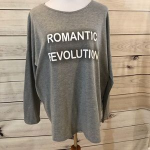T shirt grey long sleeve with writing on front